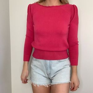 Vintage Pink Puff Sleeve Cotton Sweater Magenta S